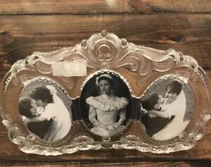 """Vintage Mikasa Crystal Triple Oval Picture Frame Princess SA 751/839; 13 1/4"""""""