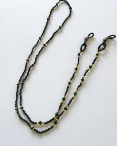 Eye Glass Holder Chain- Seed  Beads -black red yellow green -28 inches long