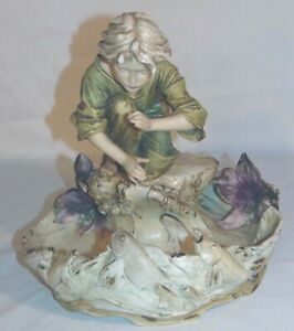Scarce Antique Royal Dux Figural Bowl Planter Aquatic Fish 576 Figurine