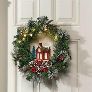 Festive Lighted Victoria Home w/ Pinecones & Berries Christmas Door Wreath