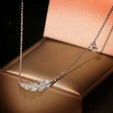 Delicate Clavicle Chain 925 Silver Feather Leaf Zircon Pendant Necklace Womens