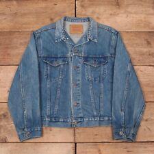 """Mens Vintage Levis Red Tab 1990s Blue Denim Trucker Jacket Large 42"""" R12196"""