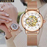 Flywheel Watch Women Mechanical Movement Skeleton Manual Wrist watch Rose