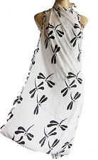 White/black DRAGONFLY beach wrap, scarf, sarong/pareo swimwear cover up SUMMER