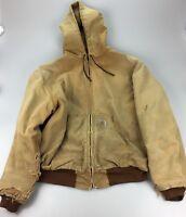 Distressed Carhartt Hooded Work Coat Brown Duck Canvas MENS XXL Jacket Zip