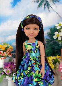 "Tropic Ferns - dress, headband & shoes for 14.5"" Ruby Red Fashion Friends doll"