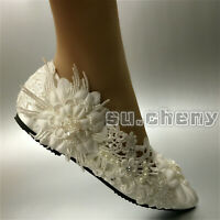 su.cheny white ivory silk satin Wedding flat ballet lace bride shoes size 5-12