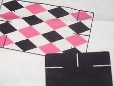 VTG NOVELTY MCM ATOMIC MOD STARBURST DOT PLAYING CARD DECOR FABRIC Pink BLACK