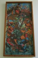 COLORFUL PAINTING VINTAGE 1960 EXPRESSIONIST NON OBJECTIVE MODERNIST ABSTRACT