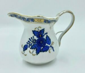 New Herend Porcelain Chinese Bouquet Black Sapphire Coffee Tea Creamer w/Handle