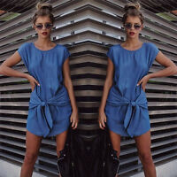 Summer Womens Fashion Short Sleeve Jeans Long T-shirt Casual Denim Mini Dresses