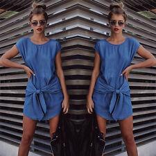 Sexy Summer Womens Short Sleeve Jeans Long T shirt Casual Denim Mini Dress Z2