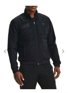 Under Armour Men's Project Rock Veteran's Day Full-Zip Bomber Jacket Black 2XL