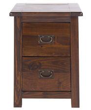 Boston Dark Wood Bedroom Range - Petite 2 Drawer Bedside Unit with Metal Handles