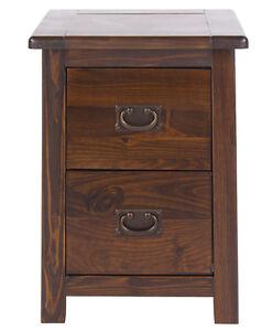 Boston Dark Wood Bedroom Range - Small 2 Drawer Bedside Unit with Metal Handles