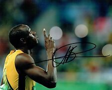 Usain Bolt SIGNED Rio 2016 Olympic Athlete 10x8 Race Photo 3 AFTAL Autograph COA