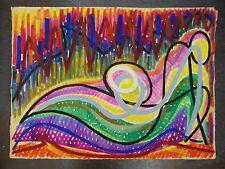 Raymond TRAMEAU gouache 1973 figuratif abstraction musicaliste  P 1052