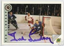 TED  LINDSAY Detroit Red Wings 1992 UPPER DECK  AUTOGRAPHED HOCKEY CARD JSA