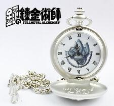 FullMetal Alchemist Anime Manga Metall Taschenuhr Uhr mit Kette Neu