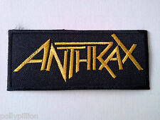 PUNK ROCK HEAVY METAL MUSIC SEW ON / IRON ON PATCH:- ANTHRAX (b) GOLD STRIPE
