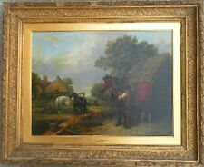 JOHN F. HERRING JR (1815-1907) BRITISH ORIGINAL OIL PAINTING BARNYARD FARM SCENE
