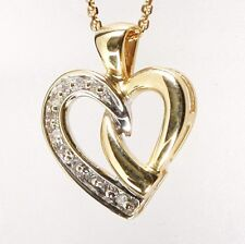 New DIAMOND HEART PENDANT 14K Solid Yellow GOLD 0.11TCW I/SI W/CHAIN 16 inches