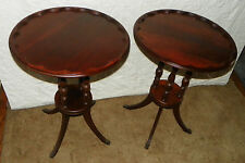 Pair Mahogany Pie Crust Mid Century End Tables Side Tables  (T325) (Ships GPX)
