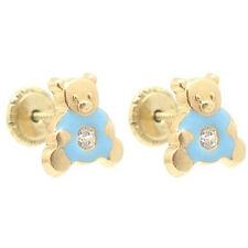 Baby/Children 14K Yellow Gold Enamel Blue Teddy Bear Screw-Back  Earrings