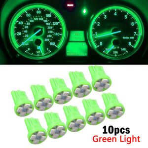 10x Green T10 W5W 168 194 4-SMD LED Dash Instrument Cluster Gauge Light Bulb