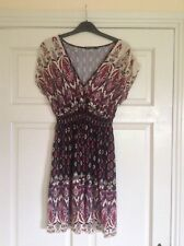 Primark Ladies Paisley Patterned Dress Multi Coloured Stretchy Size 8/10.