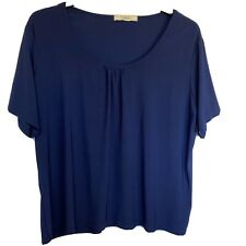 C Classics - Size 20 - 22 - Stretch Comfy Pleated Front T Shirt - Blue