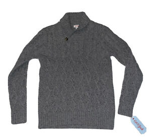 Cat & Jack Boys Knit Cable Shawl Collar Gray Size Large
