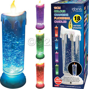 Flickering Color Changing LED Candle Swirling Glitter Flameless Romantic Lamp