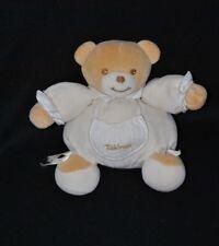 Peluche doudou ours boule brun TAKINOU beige blanc poche noeuds 17 cm TTBE