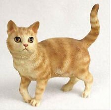 SHORTHAIRED RED TABBY CAT Standing Figurine Statue Hand Painted Resin Gift