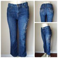 Baccini Women's Jeans Pants Dark Wash Embellished Rhinestone Stretch Denim Sz 4