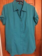 Women's Merrell Short Sleeve Teal Button Shirt Sport Medium Euc