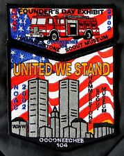 OCCONEECHEE OA LODGE 101 2-PATCH NOAC 2002 FOUNDER'S DAY FIRETRUCK DELEGATE FLAP