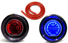 Digital 52mm Turbo Boost gauge 35 psi Red Blue Light with Red Silicone Hose