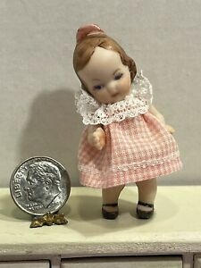 Vintage Artisan Bisque Little Girl Doll Jointed Arms Dollhouse Miniature 1:12