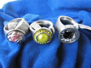 3 X ORIGINAL Pavo Real Ringe mit 3 Diams-Gr-56-NEU!