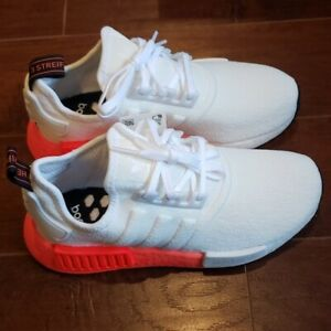 Adidas NMD_R1 White/Orange Women's  Athletic Sneakers - Size 6.5 Youth/8 Womens