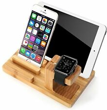 Lisci naturale Bamboo Apple Orologio Stand e Supporto per Cellulare e Tablet Stand