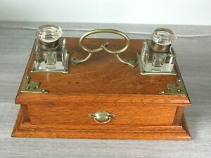 Antique Wooden Glass Dual Inkwell Set-Drawer-BEAUTIFUL CONDITION!