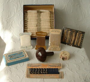 VINTAGE COLLECTION OF NEEDLEWORK THREADS & ACCESSORIES + CURTAIN GLIDERS