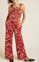 NWT Anthropologie Adelyn Rae Romy Bow Front animal print Jumpsuit Red M $170 NEW
