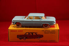 DINKY TOYS / ATLAS  ref.552   CHEVROLET CORVAIR  BLEU TURQUOISE    + FICHE