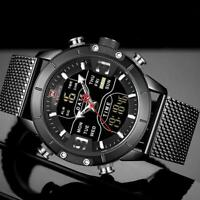 NAVIFORCE Mens Sports Analog Digital Watches Luxury Stainless Steel Wristwatches