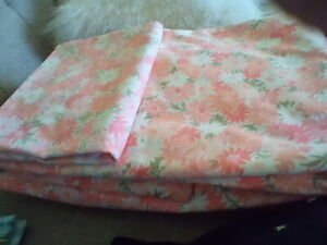 Vtg  Wamsutta Superlin Floral Retro Full Flat/Fitted Sheet Pink Flower Power Set