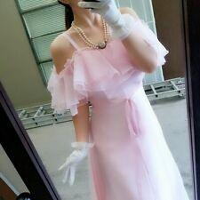 Stuning Vtg Vintage Pink Ruffles Shoulde Maxi Party Form Dress 80s